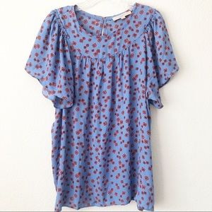 Loft Womens Blue and Red Floral Blouse Size XXLP